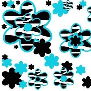 Teal Turquoise Blue Zebra Floral Animal Print