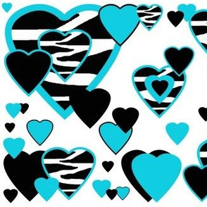 Turquoise Teal Blue Zebra Heart Animal Print