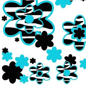 Zebra Animal Print Floral Turquoise Teal Blue