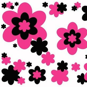 Hot Pink Black Floral Flower
