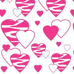 Hot Pink Zebra Heart Animal Print Geometric Design