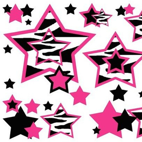 Hot Pink Zebra Star Animal Print Geometric Design