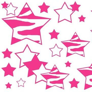 Hot Pink Zebra Geometric Star