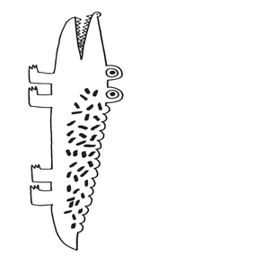 gator // large gator for nursery design decor black and white