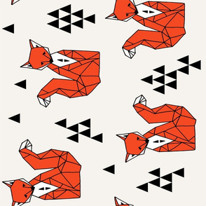 Geometric Sitting Fox // railroad kids triangles geometric geo fox