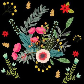 Boho Floral / Black Background