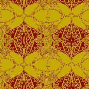 Green Gold Crimson Ornaments & Flowers