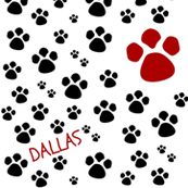 Paw Prints LG Black Red Text Personalized
