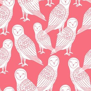 owls // block printed coral - block print bird illustration by Andrea Lauren