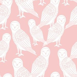 owls // block printed pink owl rose pink pantone cute girly baby pastel pink nursery design