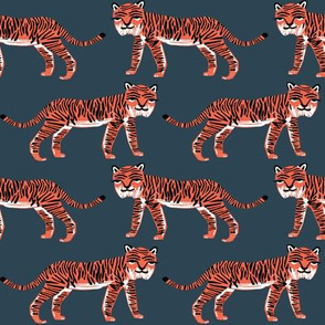 tiger // blue coral tiger safari print