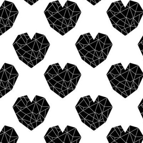 geo hearts black and white minimal geometric heart