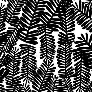 tropical leaves black and white kids nursery baby palm print banana palm
