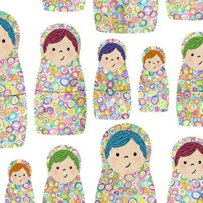 Rainbow Russian Matryoshka Nesting Dolls
