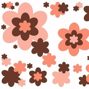 Coral Pink Orange Brown Floral Flower Pattern