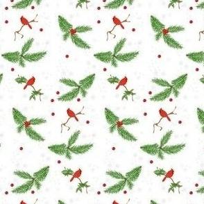 Christmas Pine Boughs & Cardinals