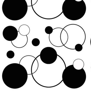 Black White Polka Dot Geometric Abstract Design