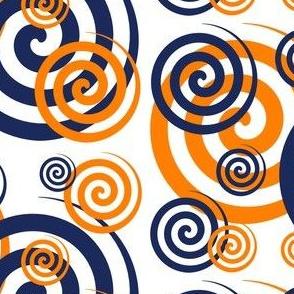 Navy Blue Orange Coral Swirls