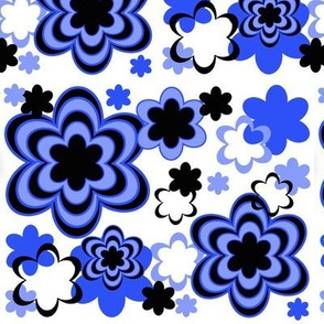 Navy Blue Black Floral Flower Abstract