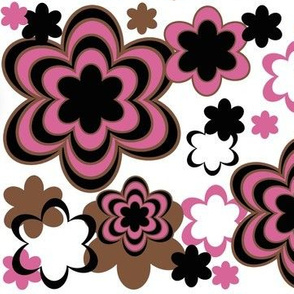 Hot Pink Brown Black Abstract Floral Flower Print