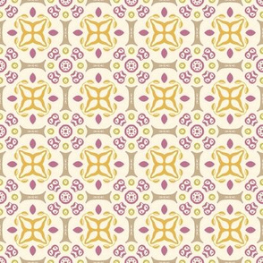 Pretty Purple, Gray and Yellow Print