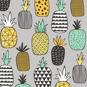 Pineapple Geometric on Grey