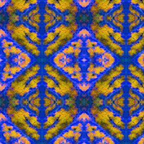 Leaf Damask 1 blue-gold