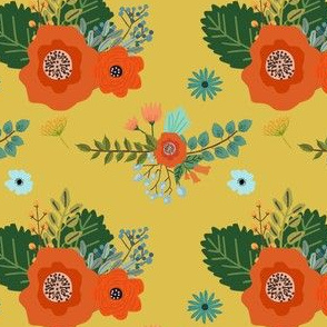 Flower Print in Yellow Background