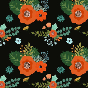 Bright Florals in Black Background