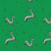 Reindeer Running - Vinatge Christmas Design