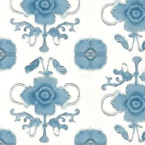 Pretty Blue Flower over White