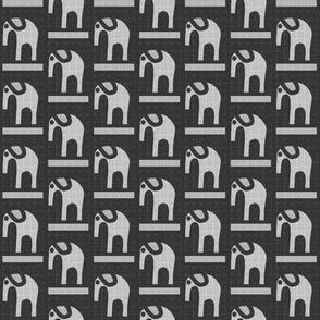 Gray Flannel Elephants on Black