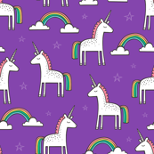 Cute Unicorn Rainbow on Purple
