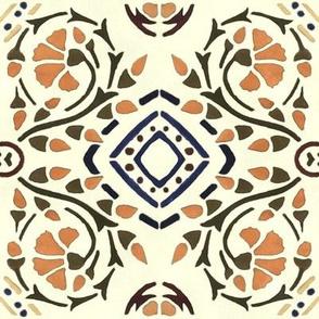 Art Nouveau Floral Stencil Design