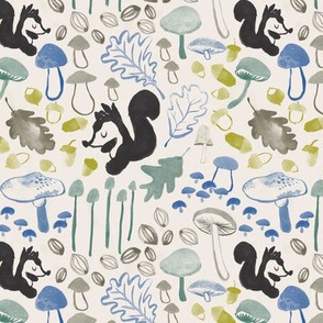 Woodland squirrel and mushrooms in cream, charcoal and teal