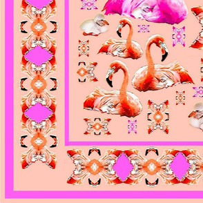 Boardered Flamingo Silk Scarf