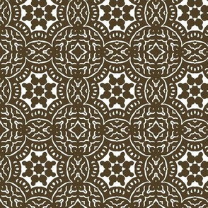 Brown and White Floral Geometric