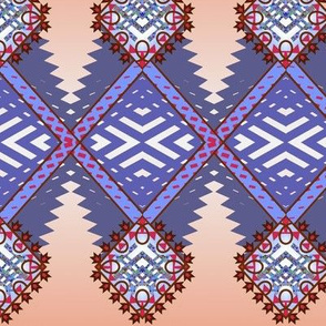 Diamond Zig Tribal Rug in Steel Blue
