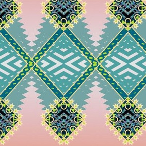 Diamond Zig Tribal Rug in Celadon on Dusty Rose