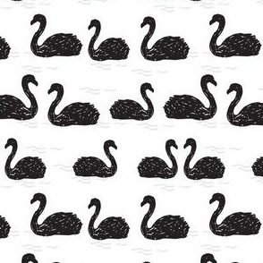 Swans in the Pond - Black and White (Tiny) by Andrea Lauren