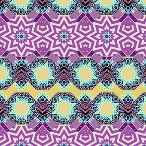 Ornate Arabic Star Tiles in Violet