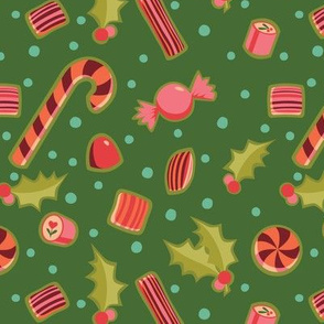 Christmas Candy on Dark Green