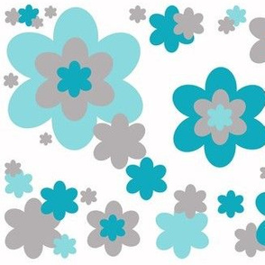 Turquoise Teal Blue Grey Gray Floral Flower Pattern