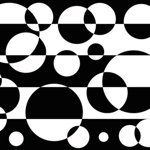 Black White Geometric Circle Abstract Design