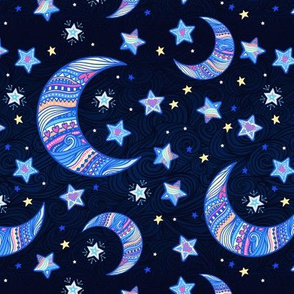 Crescent and stars