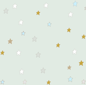 Yellow and White Christmas Stars on Mint Blue