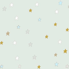 Yellow and White Stars on Mint Blue