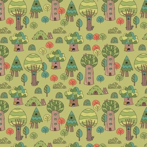 trees animals pattern