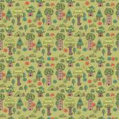 trees animals pattern