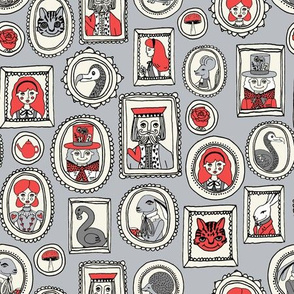 wonderland portraits // alice in wonderland and mad hatter and tea party and cat illustration pattern print
